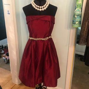 Burgundy Strapless Dress WHBM Size 6